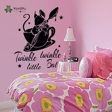 YOYOYU Vinyl Wall Decal Star Cute Bat In The Cup Tuinkle Little Kids Room Removable Cartoon Decoration Stcikers FD288