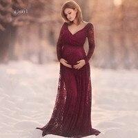 レースマタニティドレスガウン結婚式パーティートランペットドレス妊婦長いマキシvネックレースドレス産科人魚ドレス