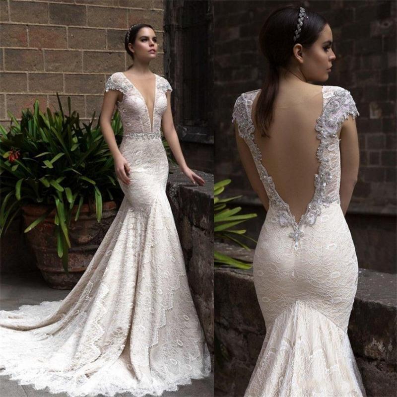 Robe De Mariee Sexy Illusion Deep V Neck Mermaid Wedding