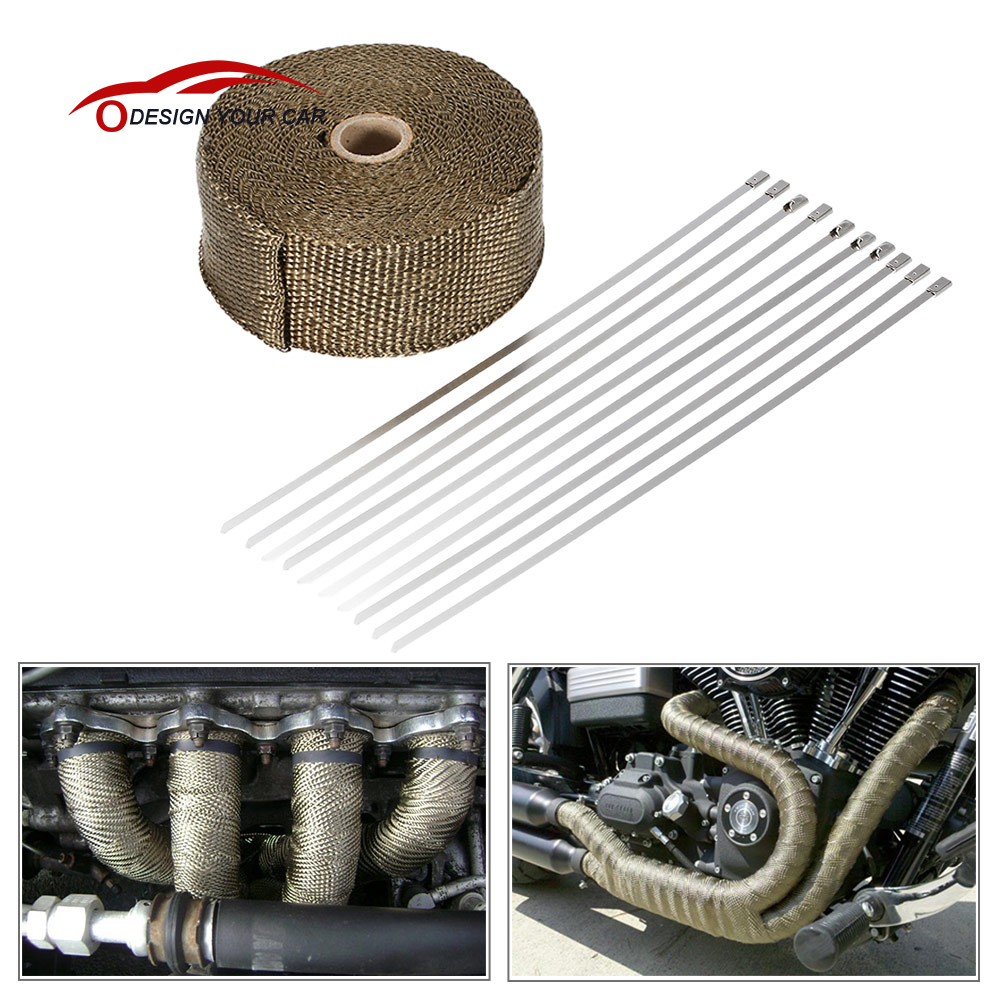 NATGIC 15M Car Motorcycle Exhaust Heat Wrap Tap Header Glassfiber Wrap Kit 2 x50Ft Orange 8PCS 11.8 inch Stainless Locking Ties
