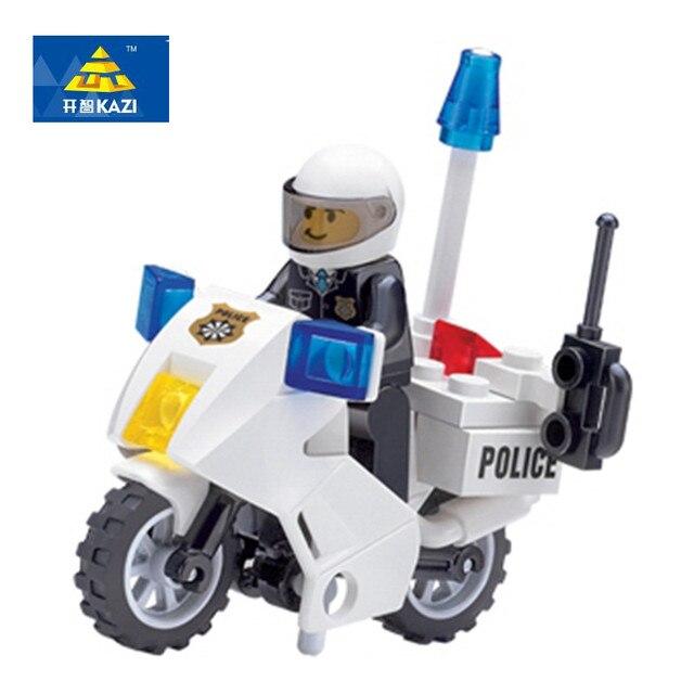 KAZI 6734 полицейский Мотоцикл строительные полицейские блоки мотоцикл кирпичи детский день рождения, день рождение мальчика подарок развивающие игрушки для детей