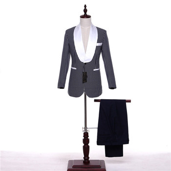 White Dots Tucedo Mens Classic Suits Slim Fit Groom Wedding Suits For Men 3 Piece Mens Formal Wear Business Suits Custom Made