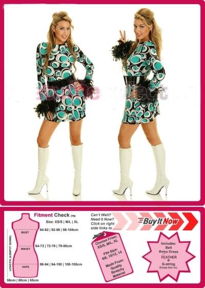 Ladies 60s 70s 1960s 1970s Retro Hippie Go Go Girl Disco Costume Fancy Dress