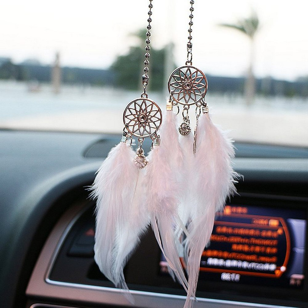 Car Pendant Accessories Hand-woven Pendant Feather Dream Catcher Interior Decoration Pendant Style Home Wall Decoration Feather