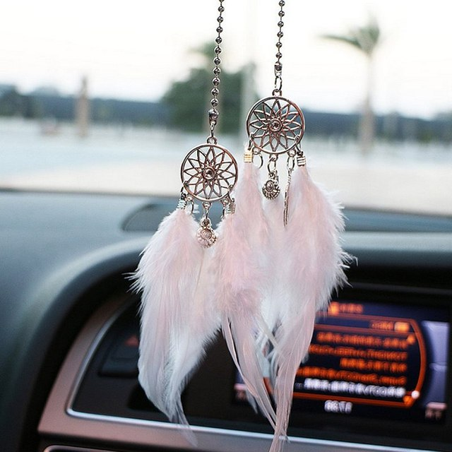 Car Pendant Accessories Hand woven Pendant Feather Dream Catcher Interior Decoration Pendant Style Home Wall Decoration Feather