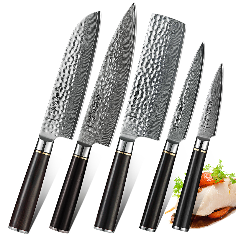5 PCS Coltello Da Cucina Chef Set di Acciaio di Damasco Giapponese In Acciaio Inox Chef Nakiri Santoku Utility Coltello Da Cucina Cuoco Strumenti di Manico In Ebano