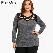 edae476d3497a PlusMiss Plus Size 5XL Sexy Cut Out Marled T-shirt Women Clothes Autumn 2017  Hollow Out Long Sleeve T Shirt Tops Tees Big Size