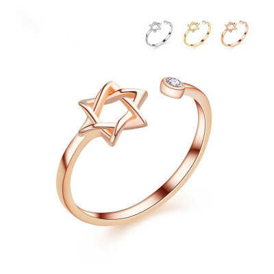 3 Color Original David Star Ring Gold Color Rings For Women Simple Rhinestone Hexagram Open Ring for Girl Jewelry gift Party