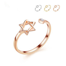 David-bague étoile pour femmes, 3 couleurs, or, bague ouverte à strass simples, hexagramme, bijoux, cadeau de fête
