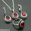 Hermosa Jewelry NEW Cubic Zircon Micro Red Drop Garnet 925 Sterling Silver Women Necklace + Earrings + Rings 18 inches/8#