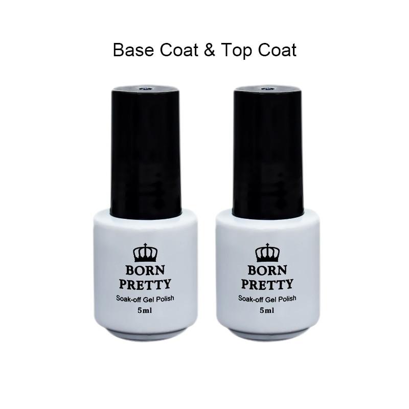 1 Bottle 5ml Born Pretty Top Coat Gel Base Coat Gel Polish No Wipe Soak Off UV Gel Manicure Nail Art Gel Varnish