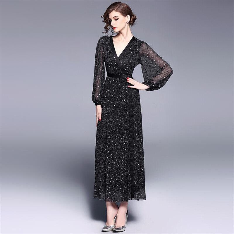2019 femmes printemps robe élégante vintage conduites de carburant étoiles appliques plein lanterne manches Col V robe de plage femme évider pa
