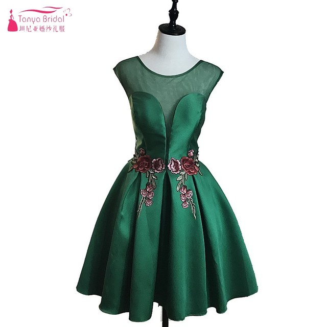 Dark Green Embroidery Short Prom Dresses 2018 Vintage Mini Ball Gown ...