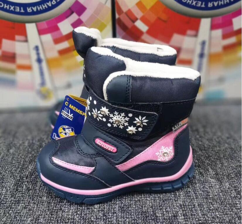 Image 4 - Baby Girls Snow Boots Fashion Top Quality Genuine Leather Toddler Shoes With Wool Waterproof  For Winter   30 Degrees Size 22 25-in Boots from Mother & Kids