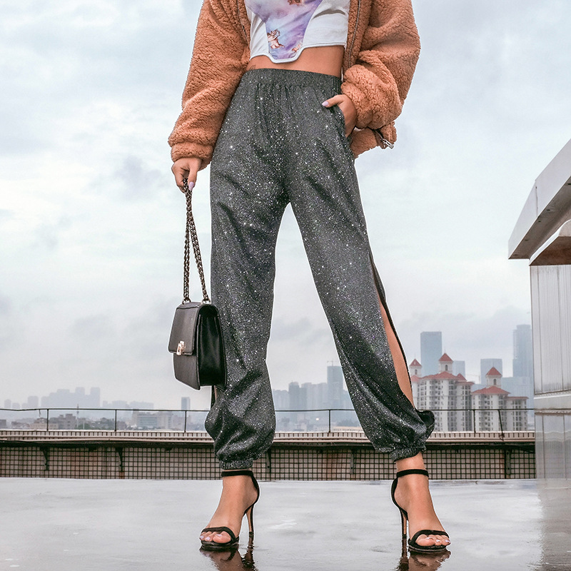 Sexy Side Split Glitter   Pants   Women   Capris   Elastic High Waist Pencil   Pants   Summer Streetwear Harajuku Sweatpants Pantalon Femme