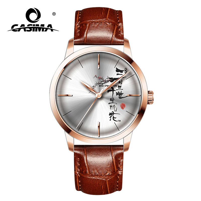 CASIMA New Chinese Style Men   Watches Blue Leather Fashion Quartz Waterproof  Wristwatches Couple Clock relogio masculino 5135