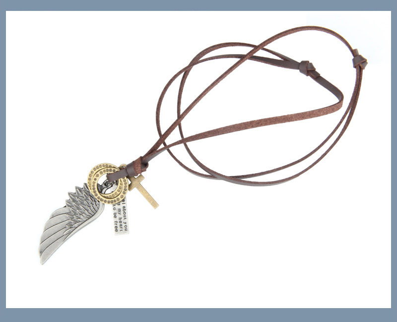 NIUYITID Feather Angel Wings Necklace & Pendants Vintage Brown Leather Neckless For Women Men Jewelry Boys Necklace Three Style (5)