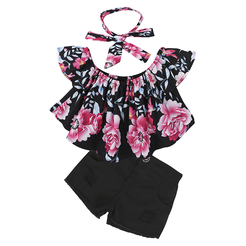 Children Sets for Girls Fashion 19 New Style Girls Suits for Children Girls T-shirt + Pants + Headband 3pcs. Suit ST307 73