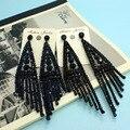 Longo Brinco Para Mulheres Colar Moda Trendy Rhinestone Brincos Bijuterias Melhor Orelhas Muito Grandes Brincos De Casamento marca De Luxo Azul