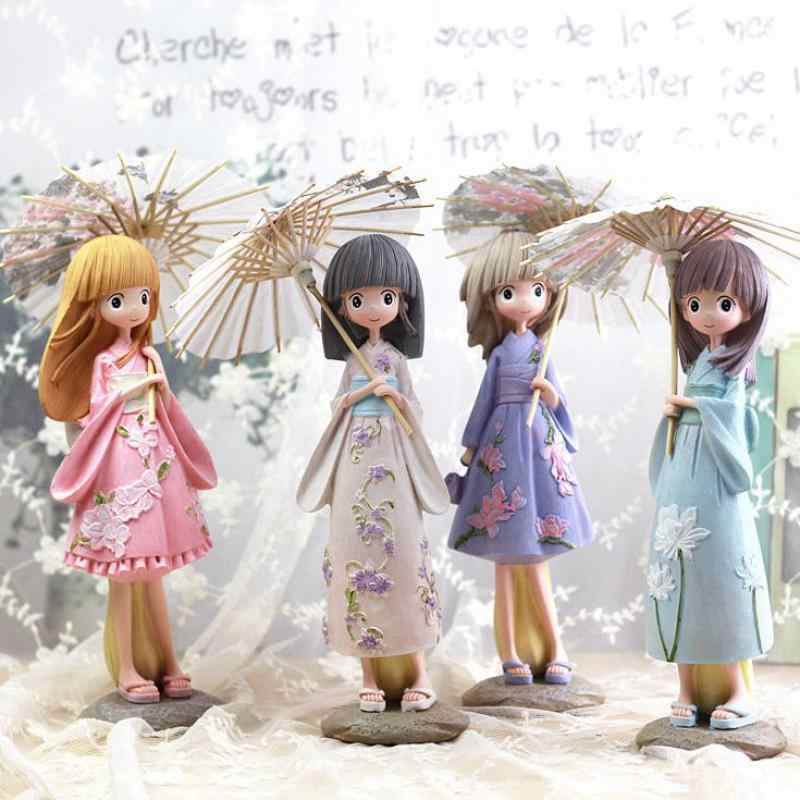 Cartoon kawaii Umbrella Girls Figurines Japan Kimono Girl Resin Crafts Miniature Figurines Birthday Gift Statuette Decoration