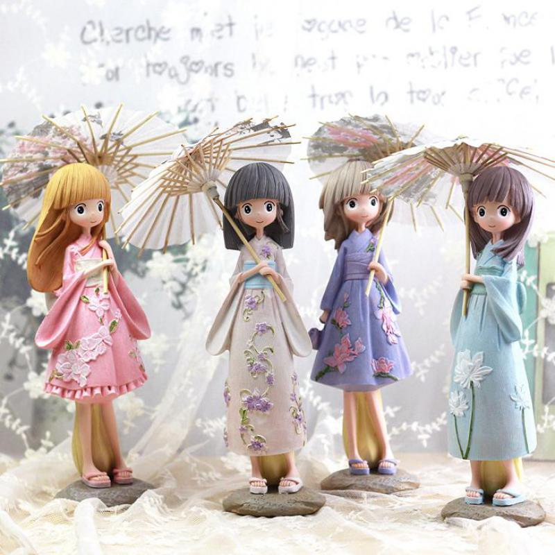 Kawaii de bande dessinée Parapluie Filles Figurines Japon Kimono Fille Résine Artisanat Miniature Figurines Cadeau D'anniversaire Statuette Décoration