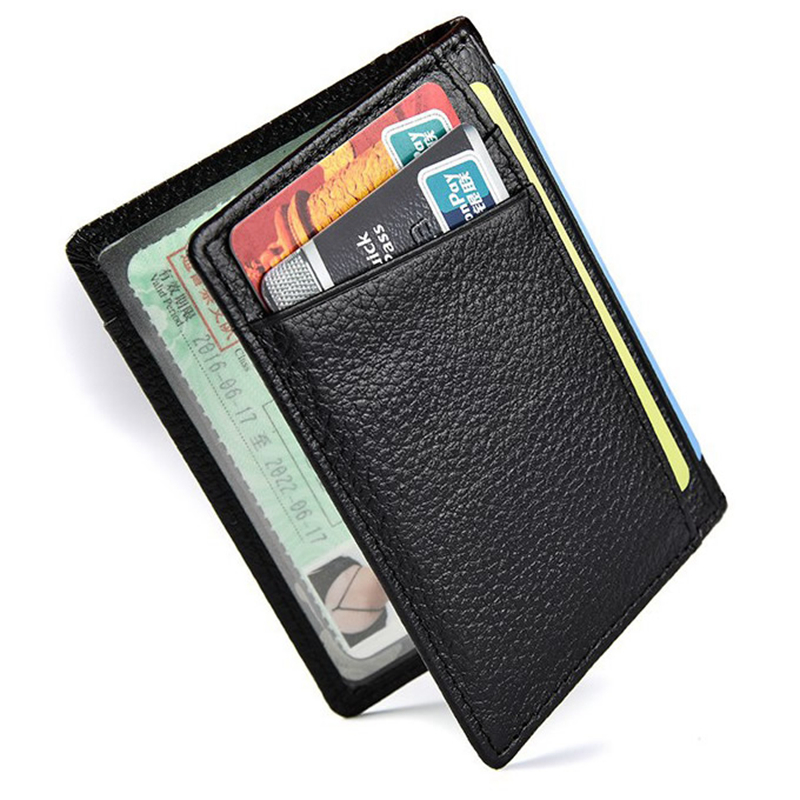 Fashion Slim Soft RFID Wallet Genuine Leather Credit Card Business Men Wallet Purse Card Holders Thin Small Card Bag Holder