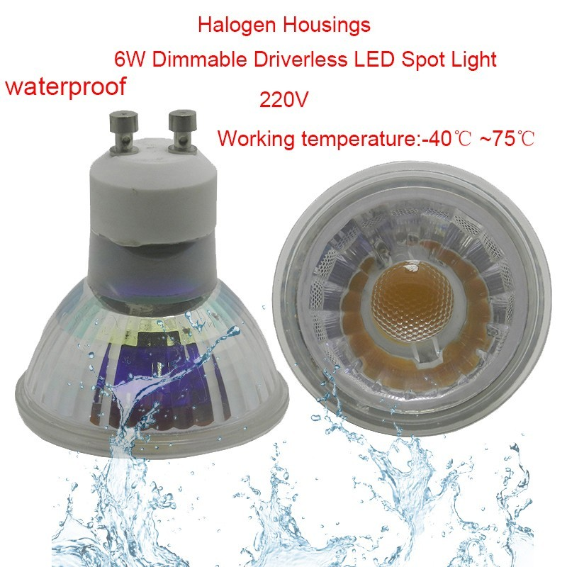 10pcs 6W COB GU10 Dimmable LED Spot Light COB Lamp AC220-270V Driverless COB Waterproof IP65 LED Bulb 4W 6W LED Down Light