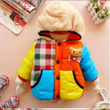 2017 Winter Brand Baby Boys&Girls Clothes Children's Clothing Kids Thick Wadded Jacket Cartoon Bear Cotton-padded Warm Outwear