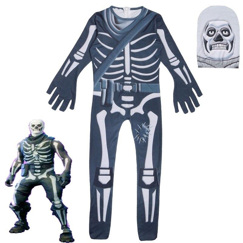 Kids Children Game Cosplay Costume Skull Trooper Zentai Bodysuit Suit Jumpsuits Mask Halloween