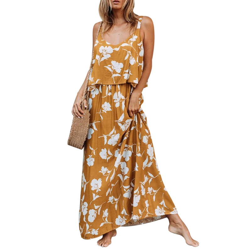 Womens Floral Print Sleeveless Maxi Dress S-XXL Boho Beach Sundress Daily Dess