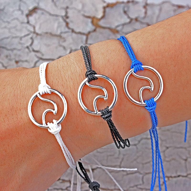 LWMMD Pure Life Hippie boho beach Surf Bracelets Handmade wave charms Friendship bracelet Wax String Bracelets&Bangles