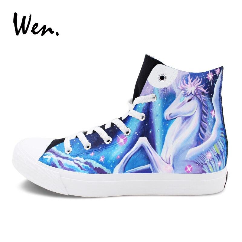 Wen Unicorn Canvas Shoes Hand Painted Plimsolls Gym Shoes Men Lacing Platform Flat Women Skateboarding Sneakers High Top