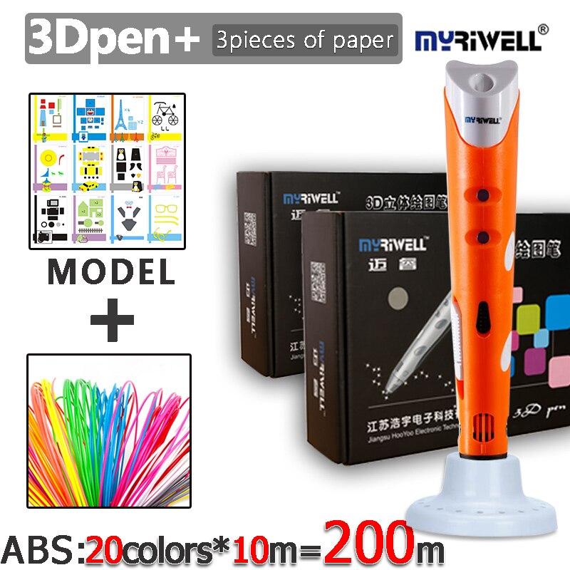 Myriwell 1nd 3D Kritzeln Stift Scribble Kit ABS Filament (20color * 10 mt) und Papier Modell Nicht Heißer Und Sicher Für kinder Zu Verwenden