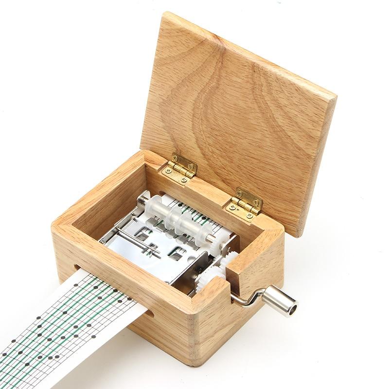 15 тон DIY ручной коленчатый музыкальная шкатулка деревянная коробка с дырокол и 10 шт. бумажные ленты музыкальные движения коробка бумажная полоса