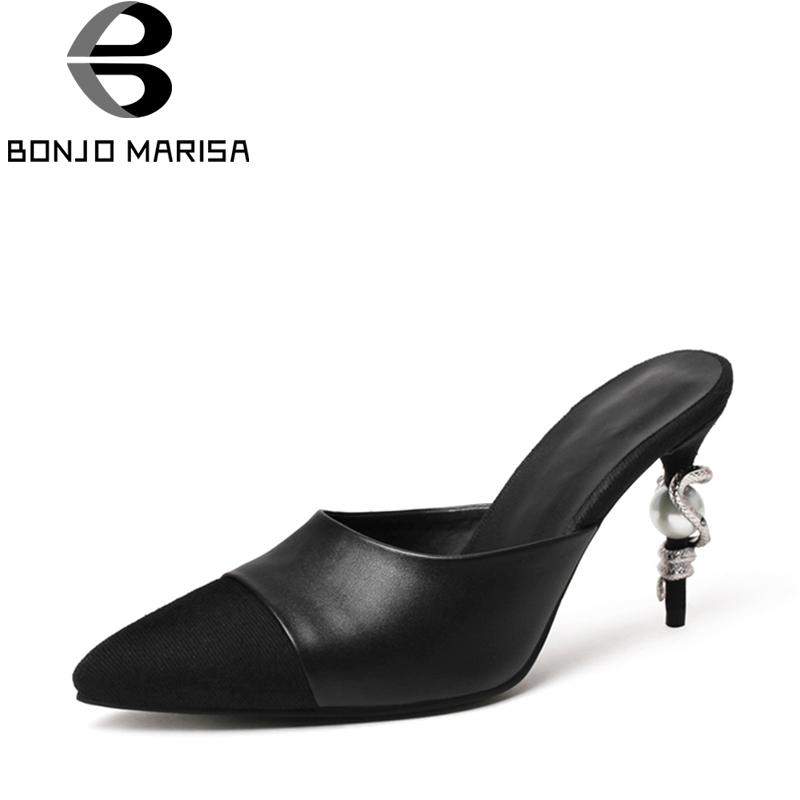 Фото BONJOMARISA 2018 Summer Brand Fashion Black Genuine Leather Pointed Toe Mules slip-on Pumps Decoration High Heels Shoes Woman