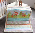 New 7 pcs baby bedding set baby bed set fox cartoon baby crib set Quilt Bumper Sheet Skirt