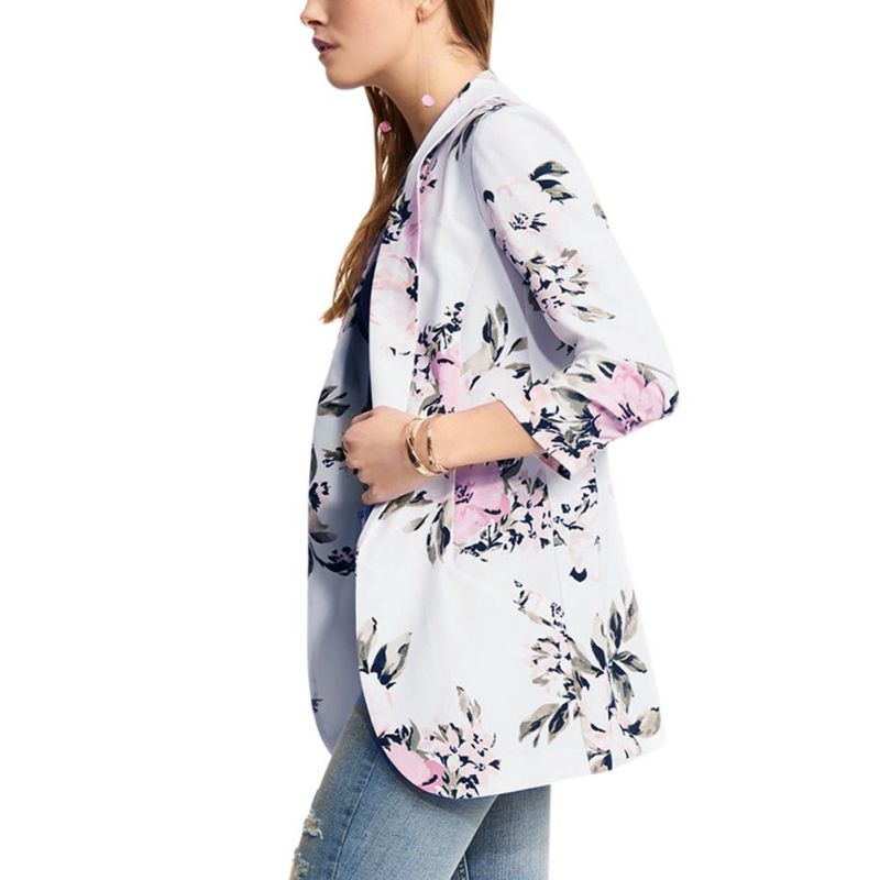 Women Elegant Print Flower small blazer Casual Pocket Jacket Female Autumn Winter Fashion Suit Blazers Tops