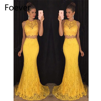 Two Pieces Gown Long Evening Dresses Mermaid vestidos de festa 2019 Lace robe de soiree O-Neck Yellow Formal Evening Party Dress