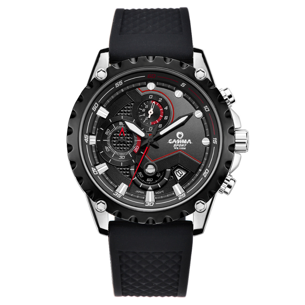 Luxury Brand watch men quartz-watch sports fashion luminous chronograph stopwatch waterproof 100m CASIMAWrist watches #8203 speatak sp9041g fashionable men s quartz watch w six stitch stopwatch black golden 1x lr626