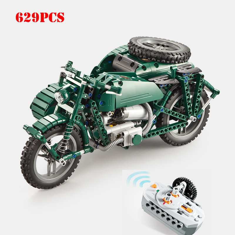 629pcs WW2 Military Series RC Motorcycle Vehicles Building Blocks DIY Technic Army Enlighten Bricks Toys For