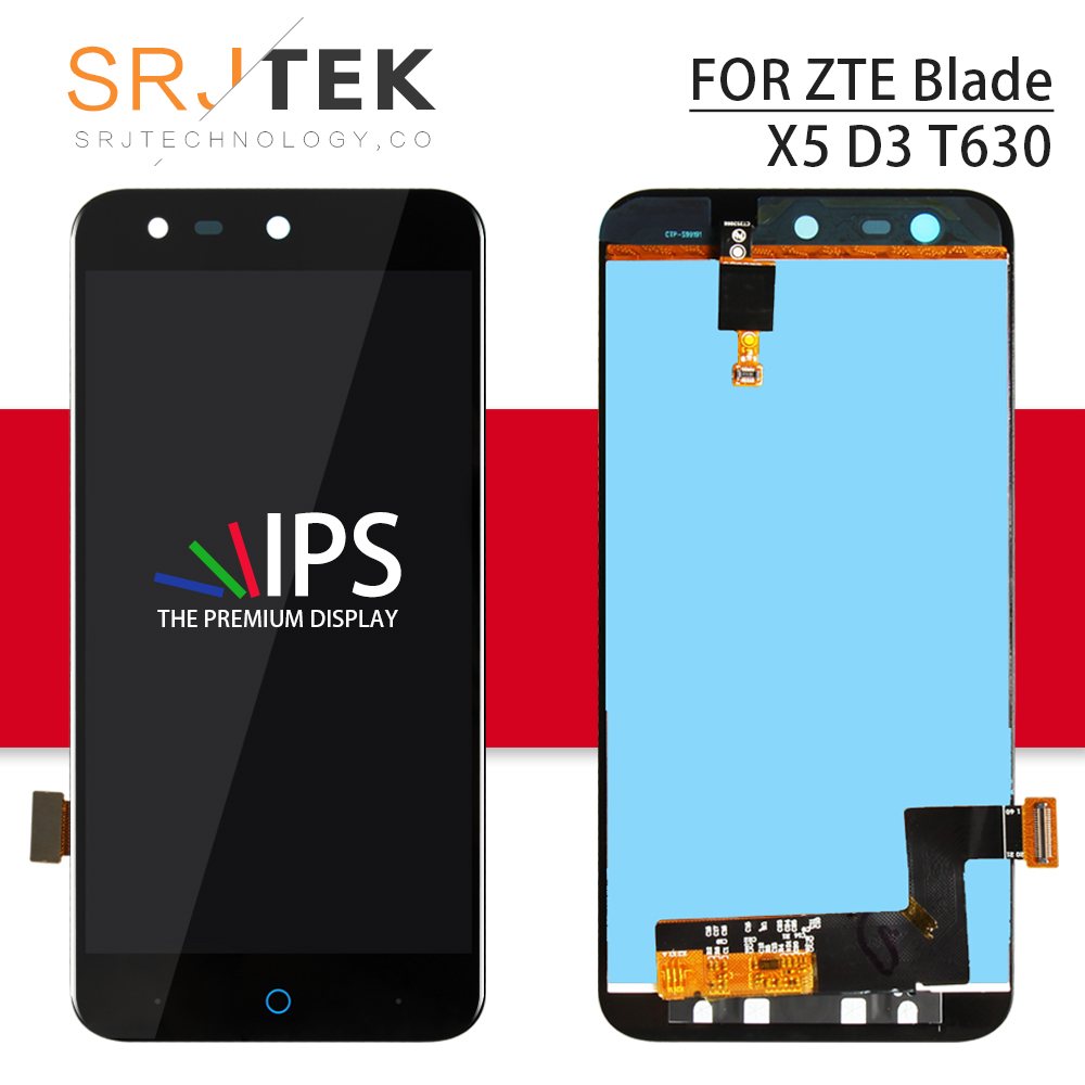 Srjtek 100% Tested for <font><b>ZTE</b></font> Blade X5 / D3 <font><b>T630</b></font> LCD Display Panel + Touch Screen Digitizer Sensor Glass Assembly 5.0inch 1280*720 image