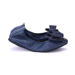 Image 5 - מותג מעצב Bowknot קונוס נעלי אישה שטוחה נעלי אלגנטי נוח ליידי אופנה כיכר ראש נשים סופר רך בלט דירות