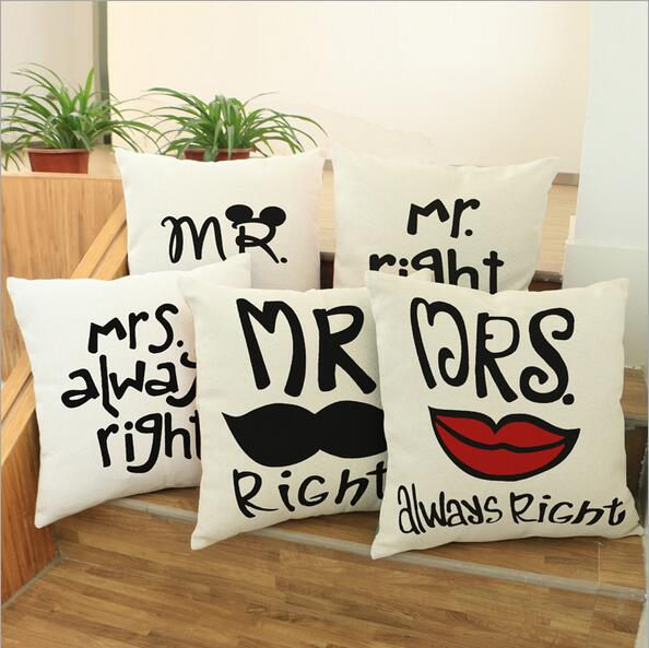 Innovation Couple Cute cartoon Cushion cover Linen cotton Throw MR Right Pillow Case Square 45*45cm lover Home textile product