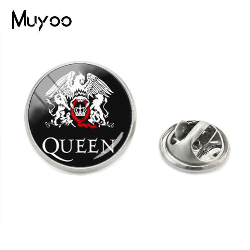 Hot Fashion Pop dan Rock Queen Band Stainless Steel Berlapis Kerah Pin Kerajinan Tangan Queen Logo Kerah Pin Perhiasan Hadiah untuk Para Penggemar