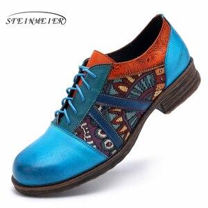 Image 2 - Femmes en cuir véritable richelieu concepteur décontracté vintage rétro chaussures plates pour femme chaussures à la main oxford chaussures pour femmes bleu 2020 printemps