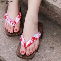 WHOHOLL femminile flip-flos 2017 donne di estate sandali zoccoli Giapponesi bidentati COSPLAY geta di legno pantofole piattaforma tacchi alti