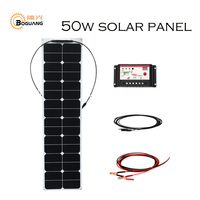 BOGUANG 50w 18V ETFE efficient flexible solar panel solar cell power generation system for car RV yacht 12v battery charge