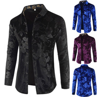 TETE DL185 Creative 3d leaves pattern print fashion long sleeve shirt Autumn 2018 New quality velvet soft luxury shirt men M 3XL