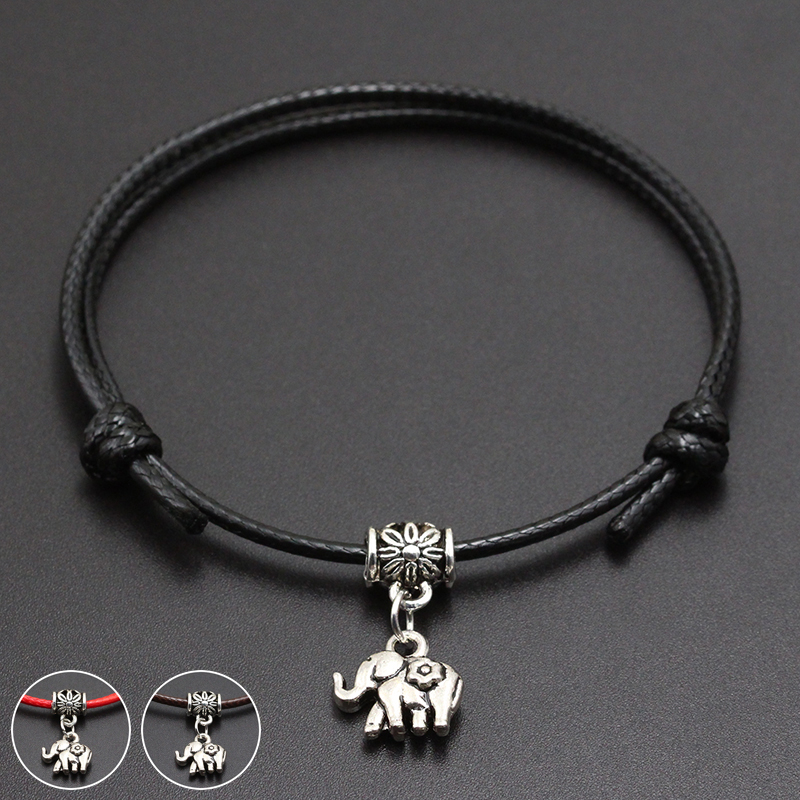 2020 New Cute Elephant Pendant Red Thread String Bracelet Lucky Black Coffee Handmade Rope Bracelet for Women Men Jewelry