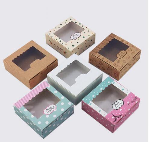 Acheter 3 tailles 20 pcs Kraft boîte de papier pour gâteau macaron boîte kraft avec fenêtre papier gâteau cookies emballage boîte de mariage gâteau cookies boîte de Cadeau Sacs et Emballage Fournitures fiable fournisseurs sur NiceToMeet YOU